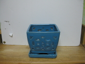 "LOTUS77  Lotus Pot sky blue square 7"" x 6.5"" high OUT OF STOCK"