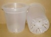 "Translucent 7"" plastic pot with bottom inverted and drainage"