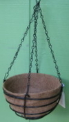 "12"" Coated Steel Basket with coco liner, chain"
