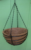 "20"" Coated Steel Basket with Coco Liner and Chain"