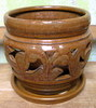 "J-LOTUS17 Honey Brown ceramic 7"" x 7"" high"